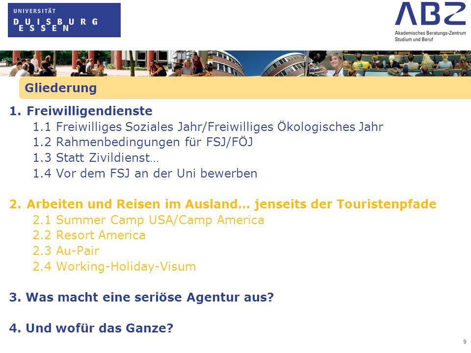 10 2.1 Summer Camp USA/Camp Amerika Idee: -Mindestaufenthalt: 9 Wochen in einem amerikanischen Ferienlager -Für einen bestimmten Aufgabenbereich (Gruppenbetreuung, Betreuung einzelner Angebote, Behindertenbetreuung, Campbetrieb) zuständig sein Voraussetzungen: -Mindestalter 18 Jahre -Gute Englischkenntnisse -Exchange Visitor Visum-J-1 für USA, Reisepass Leistungen und Kosten je nach Anbieter: -Zu den Leistungen gehören i.d.R.