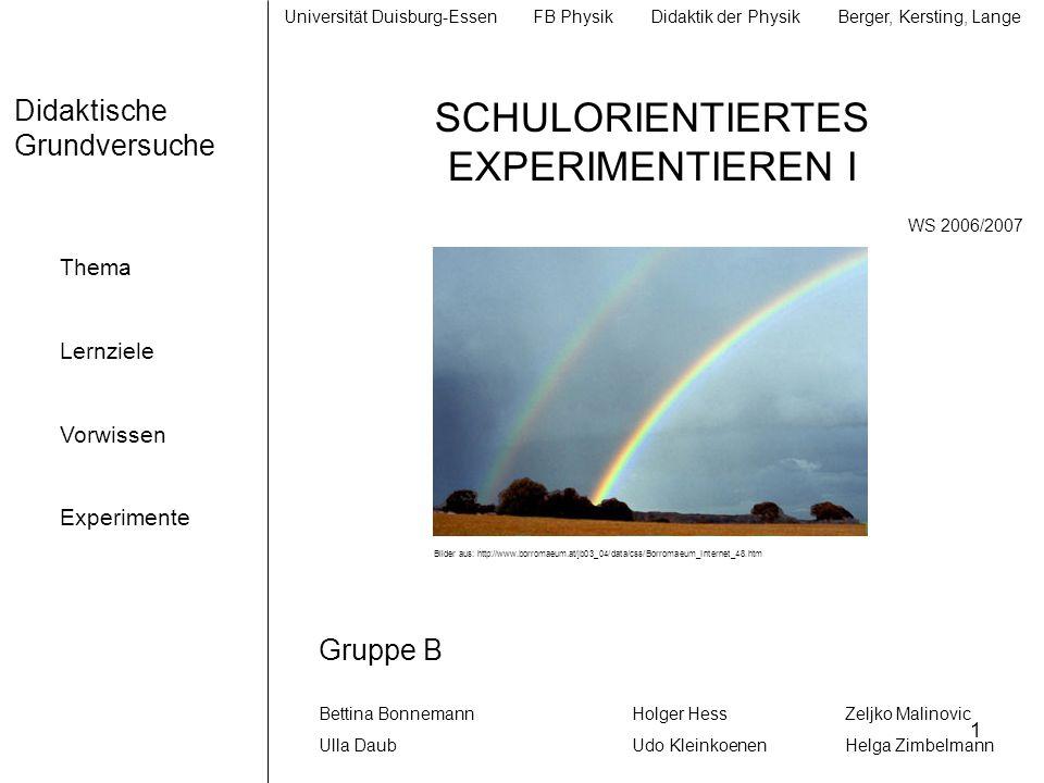 32 Didaktische Grundversuche 2 Thema Lernziele Vorwissen Experimente Diskussion Versuchsprotokoll Farbaddition von Spektralfarben Bewertung: Bei diesem Versuch erhielten wir kein exaktes Ergebnis.