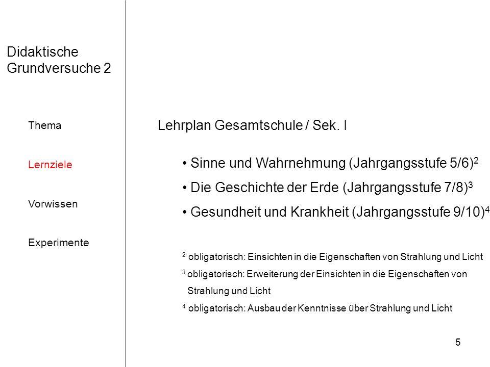 5 Didaktische Grundversuche 2 Thema Lernziele Vorwissen Experimente Lehrplan Gesamtschule / Sek.