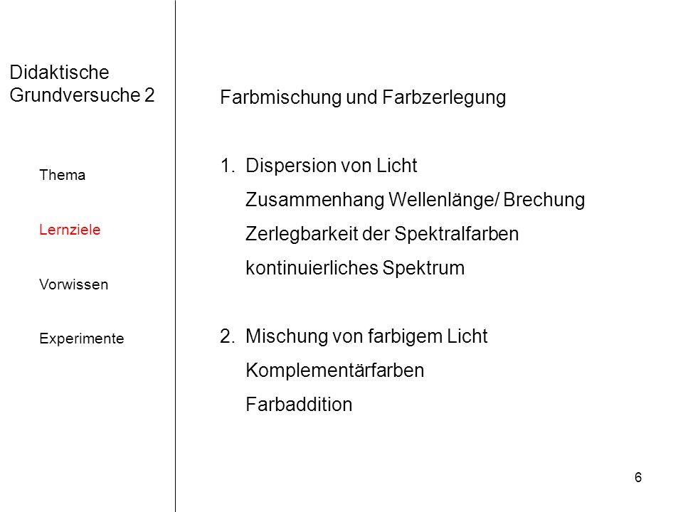 17 Didaktische Grundversuche 2 Thema Lernziele Vorwissen Experimente Versuchsanordnung zur Vereinigung der Spektralfarben zu Weiß Leifi.physik.uni-muenchen.de