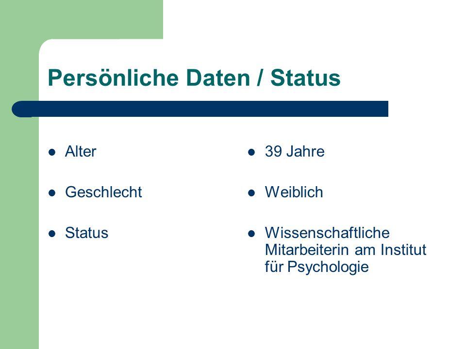 Persönliche Daten / Status Alter Geschlecht Status 39 Jahre Weiblich Wissenschaftliche Mitarbeiterin am Institut für Psychologie