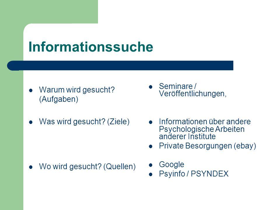 Informationssuche Warum wird gesucht? (Aufgaben) Was wird gesucht? (Ziele) Wo wird gesucht? (Quellen) Seminare / Veröffentlichungen, Informationen übe
