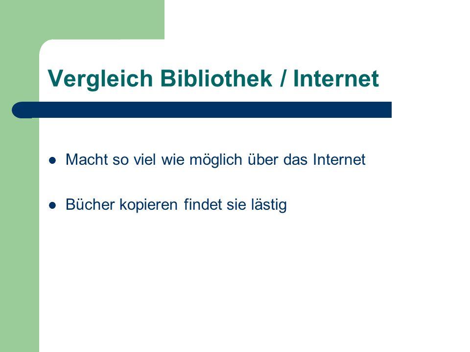 Vergleich Bibliothek / Internet Macht so viel wie möglich über das Internet Bücher kopieren findet sie lästig