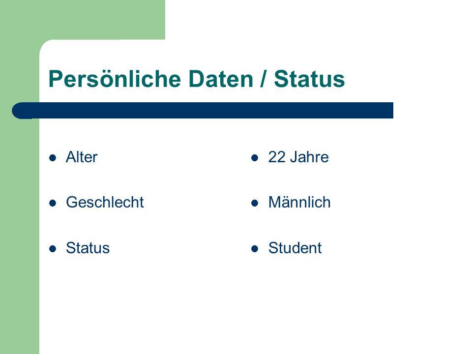 Persönliche Daten / Status Alter Geschlecht Status 22 Jahre Männlich Student
