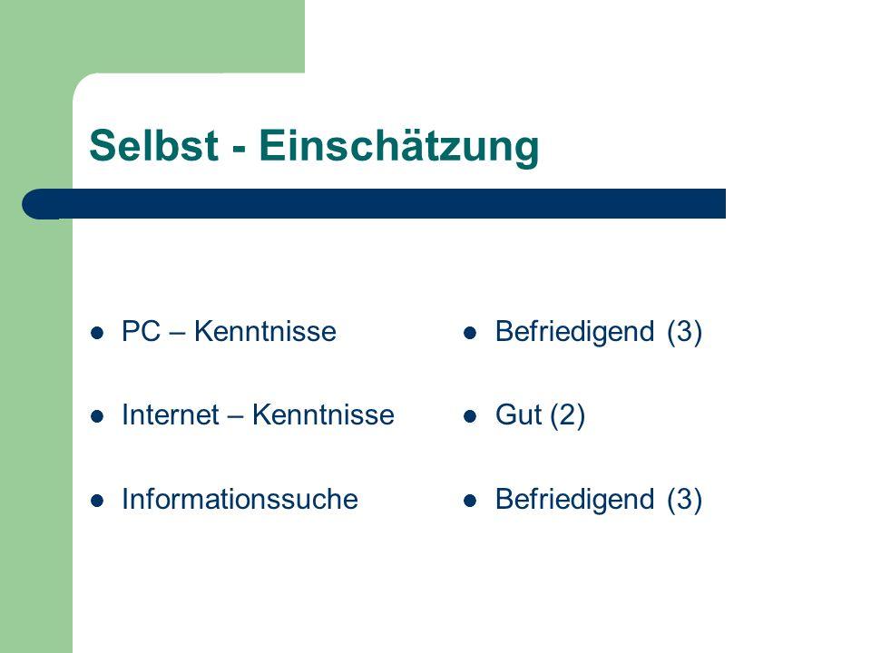 Selbst - Einschätzung PC – Kenntnisse Internet – Kenntnisse Informationssuche Befriedigend (3) Gut (2) Befriedigend (3)