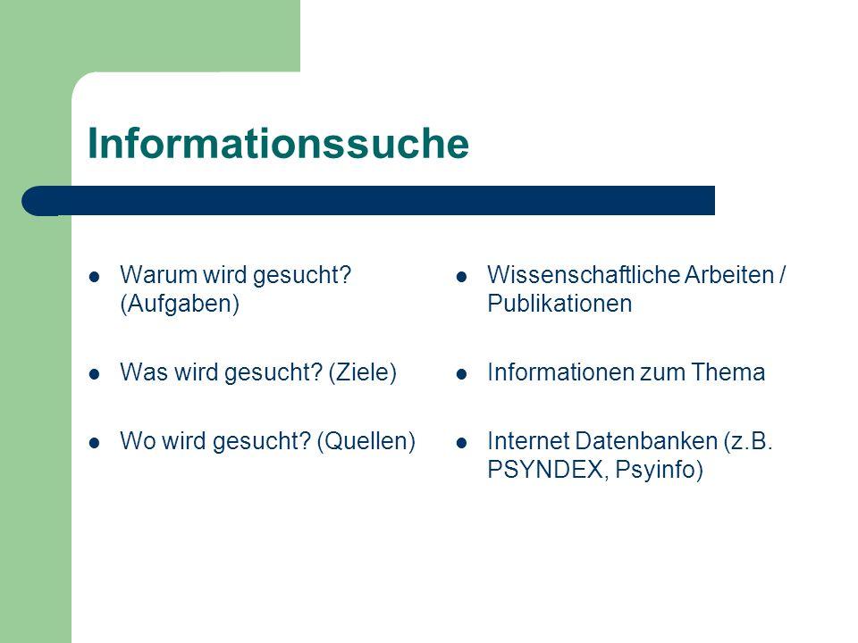 Informationssuche Warum wird gesucht? (Aufgaben) Was wird gesucht? (Ziele) Wo wird gesucht? (Quellen) Wissenschaftliche Arbeiten / Publikationen Infor