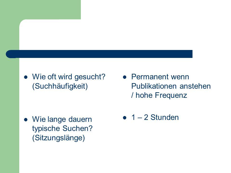 Wie oft wird gesucht? (Suchhäufigkeit) Wie lange dauern typische Suchen? (Sitzungslänge) Permanent wenn Publikationen anstehen / hohe Frequenz 1 – 2 S