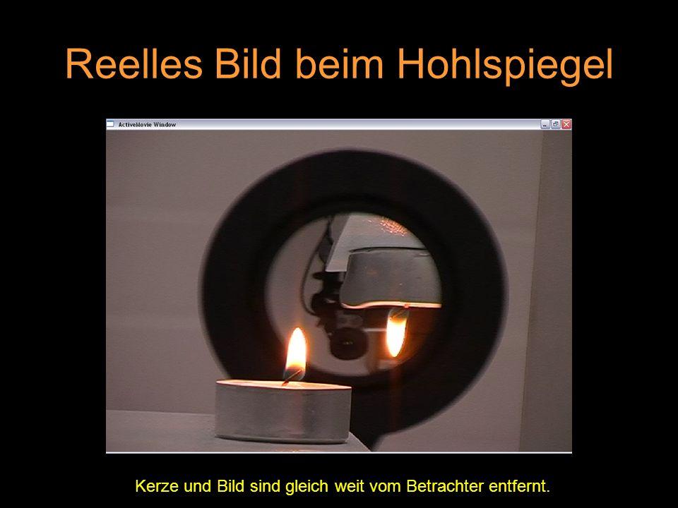 Reelles Bild beim Hohlspiegel Kerze und Bild sind gleich weit vom Betrachter entfernt.
