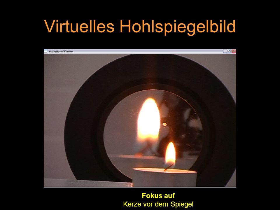 Virtuelles Hohlspiegelbild Fokus auf Kerze vor dem Spiegel