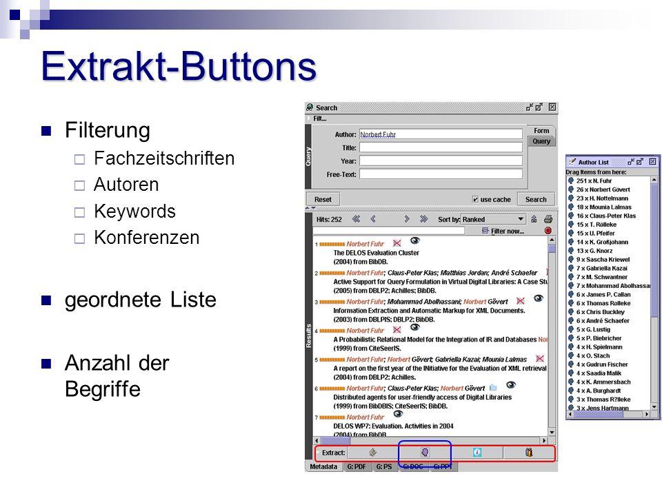 Extrakt-Buttons Filterung Fachzeitschriften Autoren Keywords Konferenzen geordnete Liste Anzahl der Begriffe