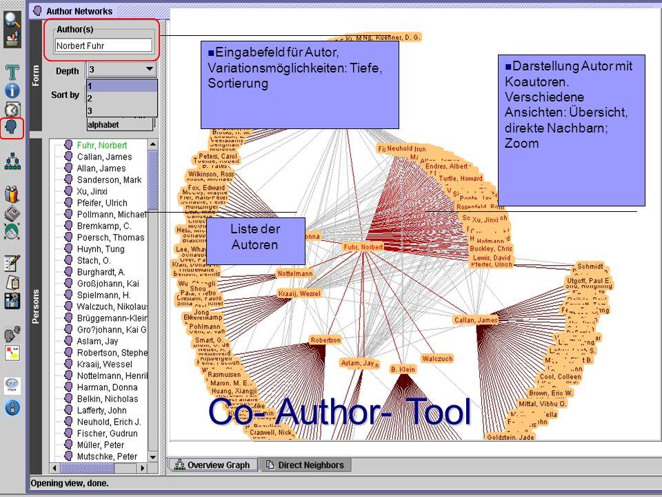 Eingabefeld für Autor, Variationsmöglichkeiten: Tiefe, Sortierung Liste der Autoren Darstellung Autor mit Koautoren.