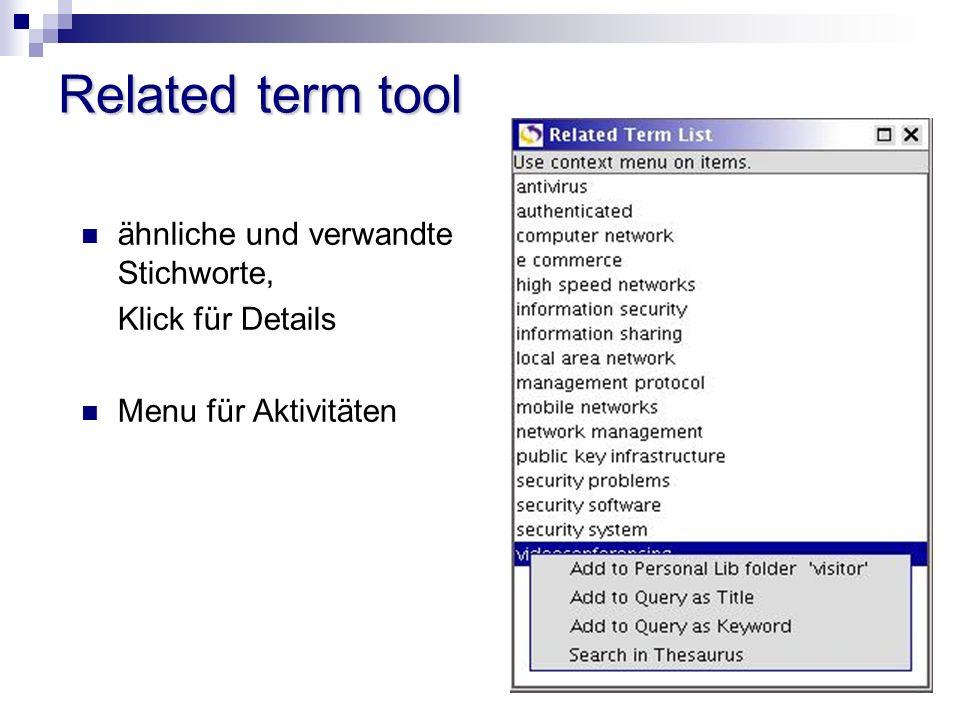 Related term tool ähnliche und verwandte Stichworte, Klick für Details Menu für Aktivitäten