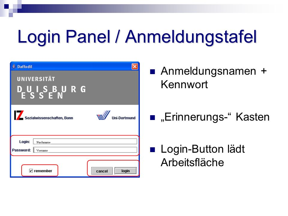 Login Panel / Anmeldungstafel Anmeldungsnamen + Kennwort Erinnerungs- Kasten Login-Button lädt Arbeitsfläche