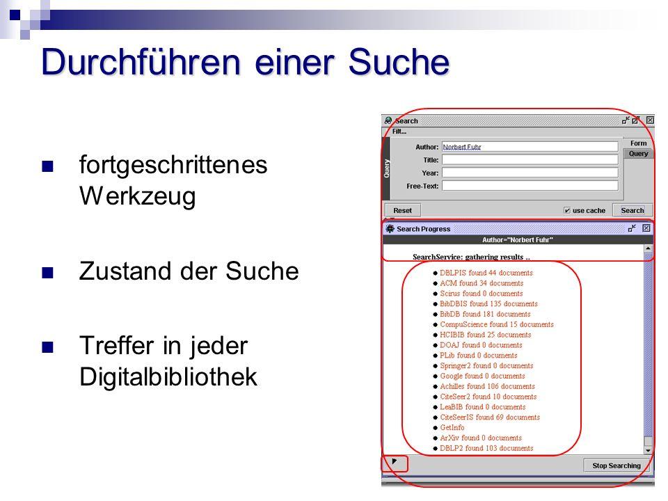Durchführen einer Suche fortgeschrittenes Werkzeug Zustand der Suche Treffer in jeder Digitalbibliothek