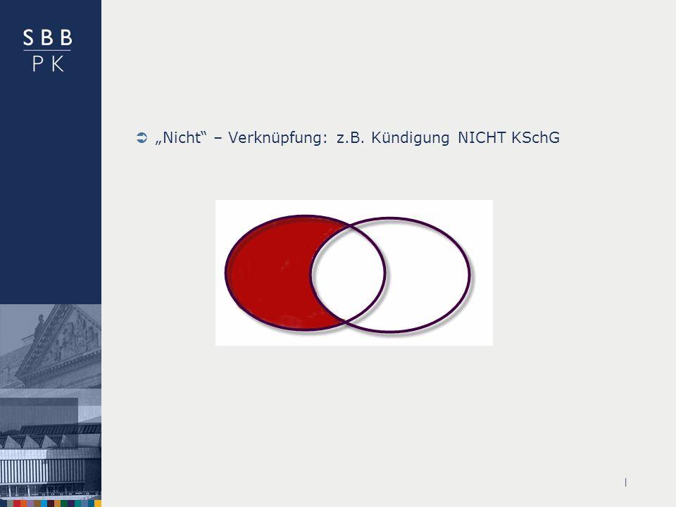 | Nicht – Verknüpfung: z.B. Kündigung NICHT KSchG