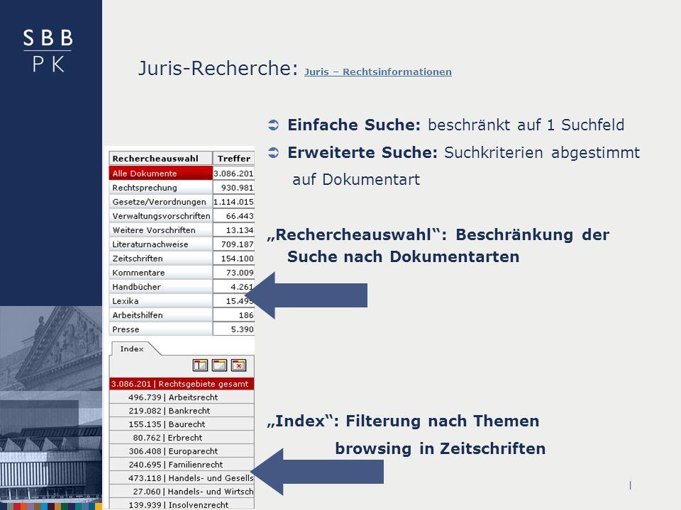 | Juris-Recherche: Juris – Rechtsinformationen Juris – Rechtsinformationen Einfache Suche: beschränkt auf 1 Suchfeld Erweiterte Suche: Suchkriterien abgestimmt auf Dokumentart Rechercheauswahl: Beschränkung der Suche nach Dokumentarten Index: Filterung nach Themen browsing in Zeitschriften