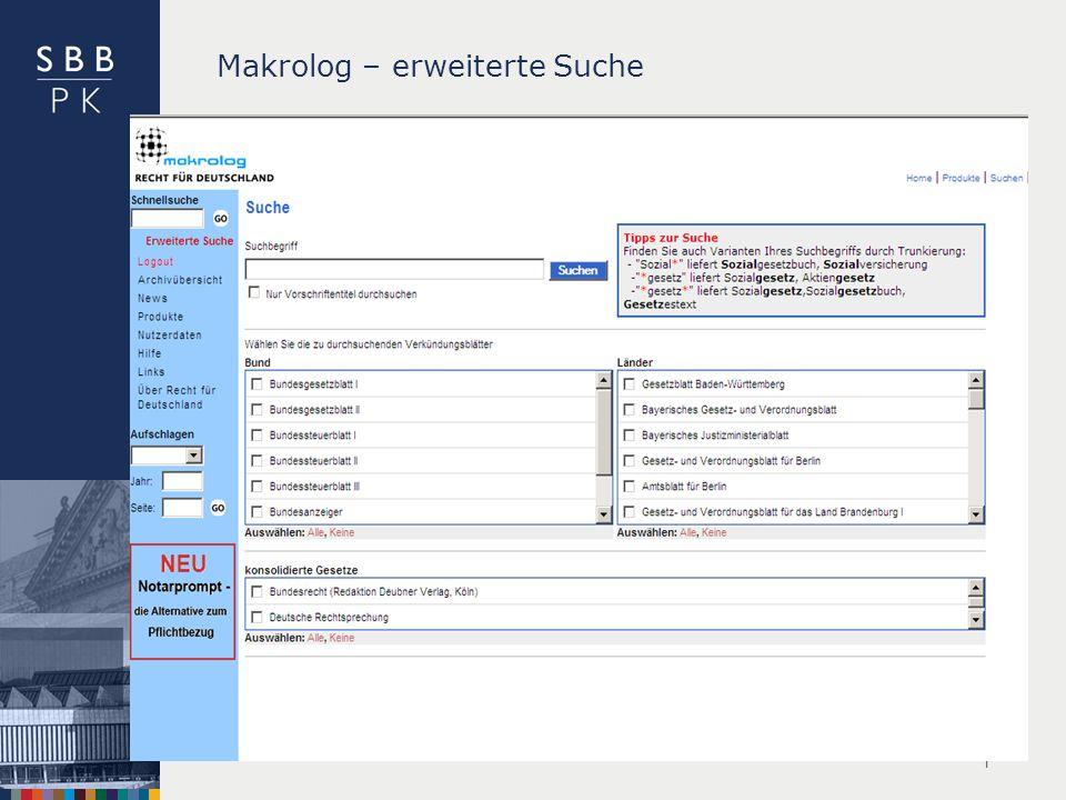 | Makrolog – erweiterte Suche