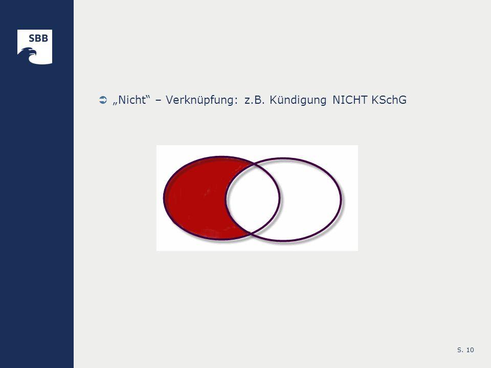 S. 10 Nicht – Verknüpfung: z.B. Kündigung NICHT KSchG