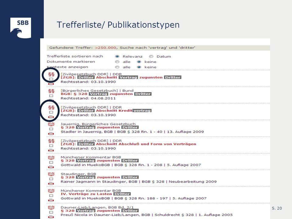 S. 20 Trefferliste/ Publikationstypen