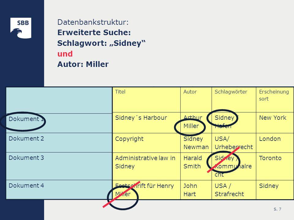 S. 7 Datenbankstruktur: Erweiterte Suche: Schlagwort: Sidney und Autor: Miller TitelAutorSchlagwörter Erscheinungso rt Dokument 1 Sidney´s Harbour Art