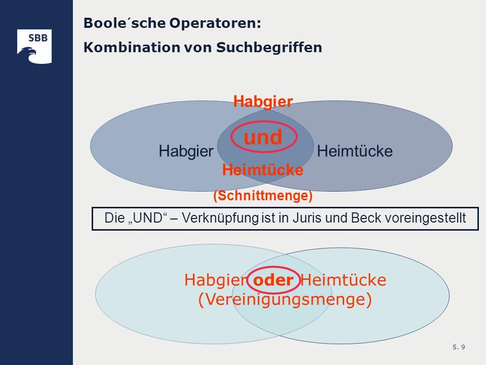 S. 9 HabgierHeimtücke Boole´sche Operatoren: Kombination von Suchbegriffen Habgier und Heimtücke (Schnittmenge) Habgier oder Heimtücke (Vereinigungsme
