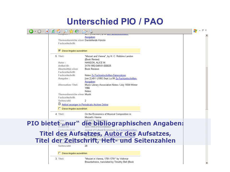 Unterschied PIO / PAO PIO bietet nur die bibliographischen Angaben: Titel des Aufsatzes, Autor des Aufsatzes, Titel der Zeitschrift, Heft- und Seitenzahlen