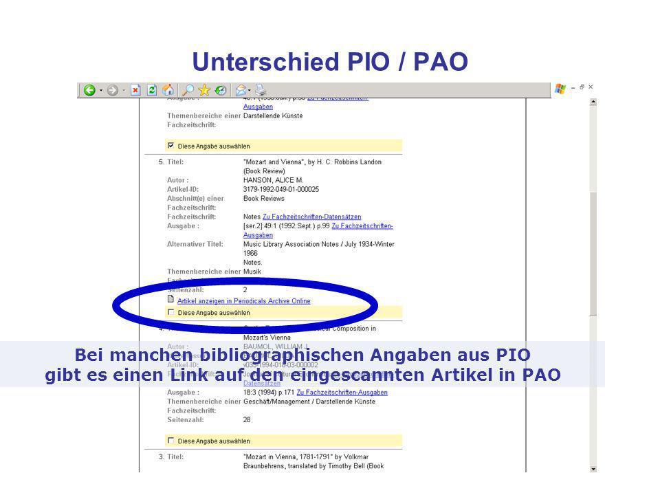 Unterschied PIO / PAO Bei manchen bibliographischen Angaben aus PIO gibt es einen Link auf den eingescannten Artikel in PAO