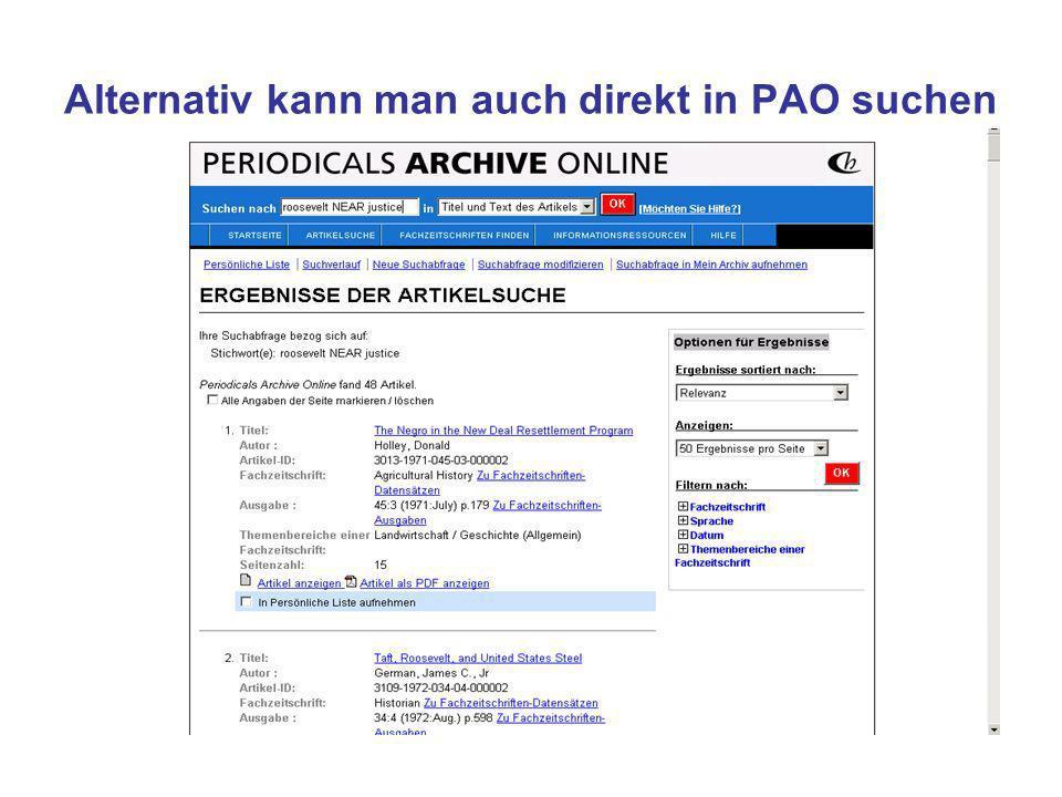 Alternativ kann man auch direkt in PAO suchen