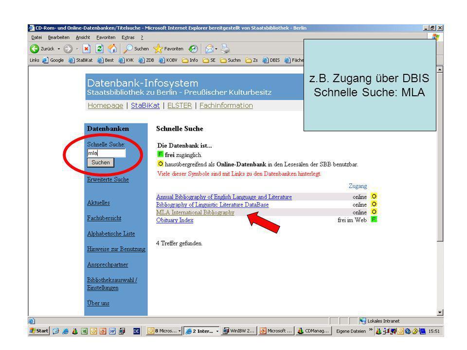 z.B. Zugang über DBIS Schnelle Suche: MLA