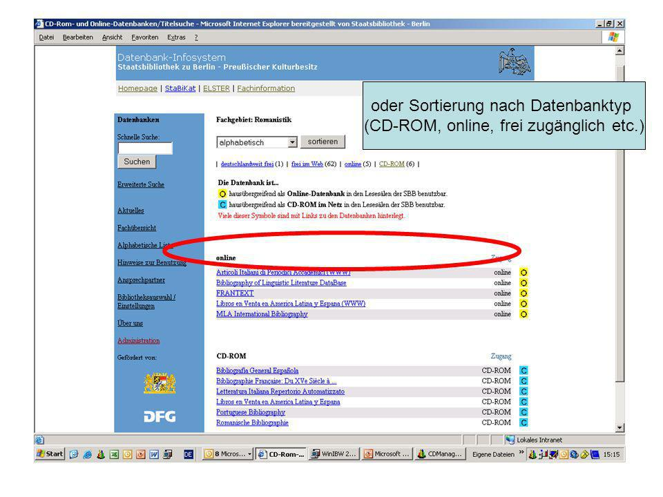 oder Sortierung nach Datenbanktyp (CD-ROM, online, frei zugänglich etc.)