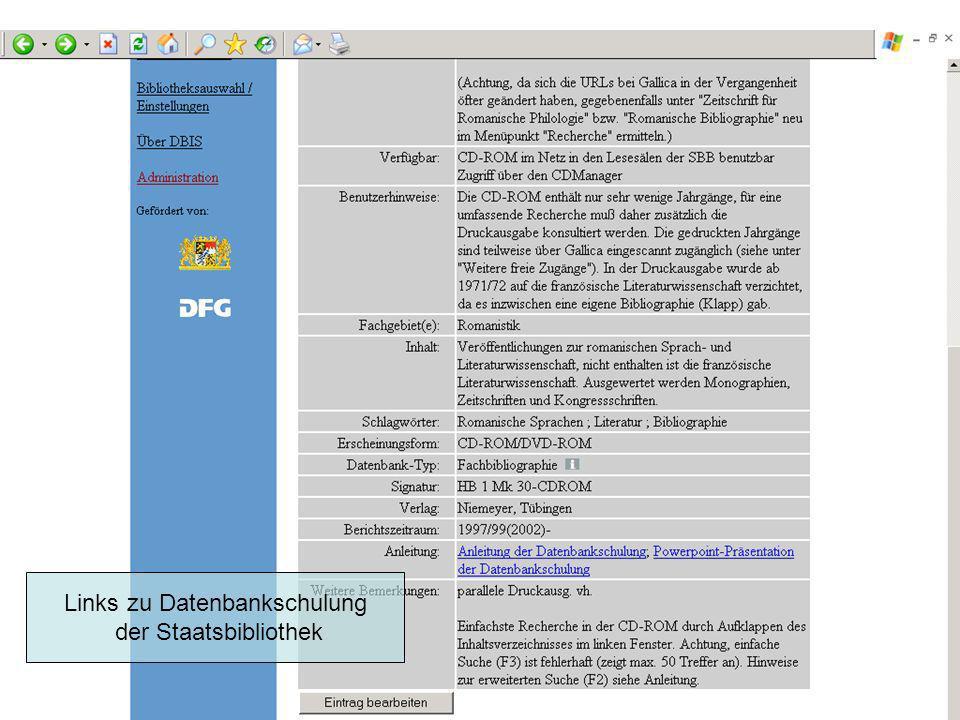 Links zu Datenbankschulung der Staatsbibliothek