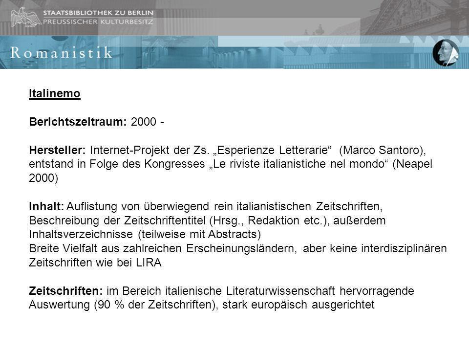 Italinemo Berichtszeitraum: 2000 - Hersteller: Internet-Projekt der Zs.