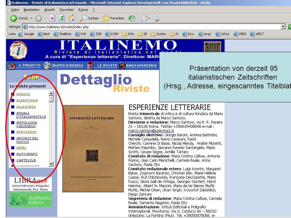 Präsentation von derzeit 95 italianistischen Zeitschriften (Hrsg., Adresse, eingescanntes Titelblatt…)