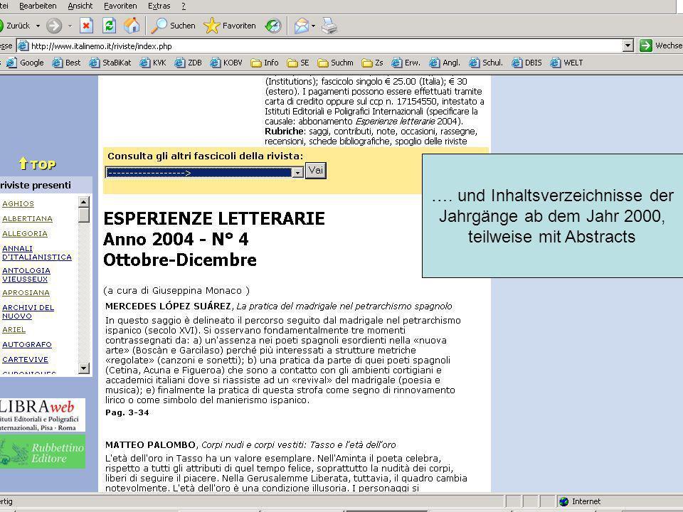 …. und Inhaltsverzeichnisse der Jahrgänge ab dem Jahr 2000, teilweise mit Abstracts