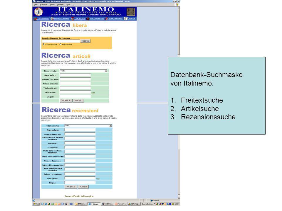 Datenbank-Suchmaske von Italinemo: 1.Freitextsuche 2.Artikelsuche 3.Rezensionssuche