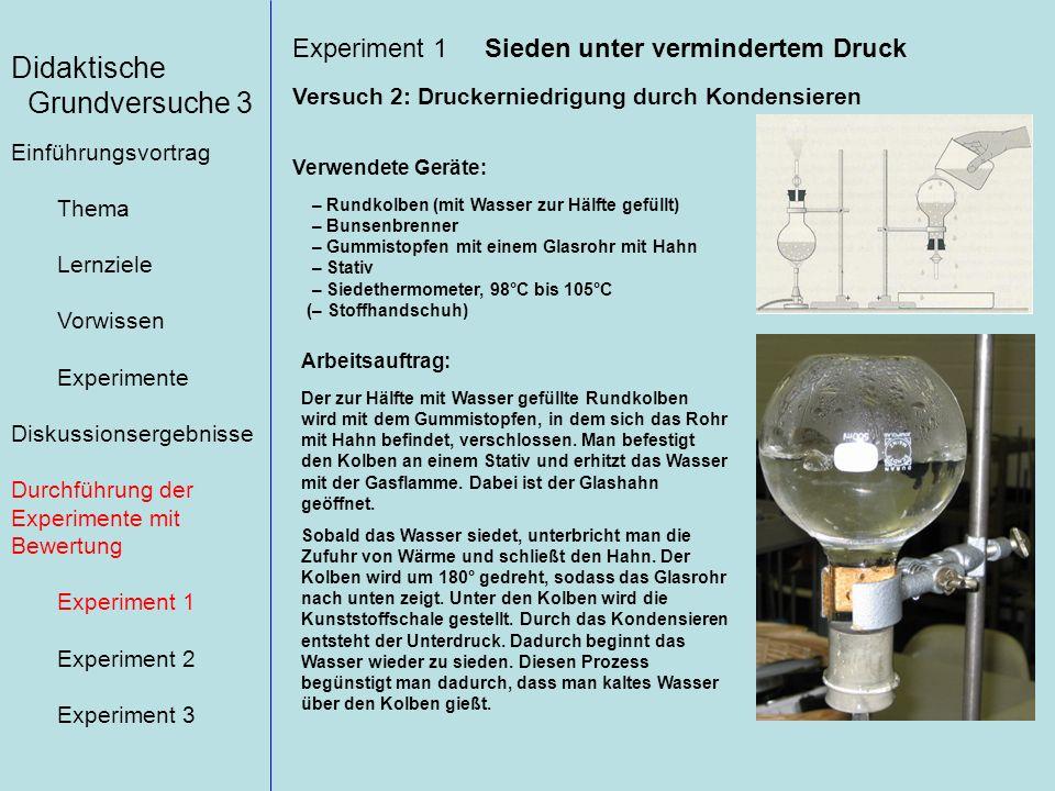 Didaktische Grundversuche 3 Einführungsvortrag Thema Lernziele Vorwissen Experimente Diskussionsergebnisse Durchführung der Experimente mit Bewertung