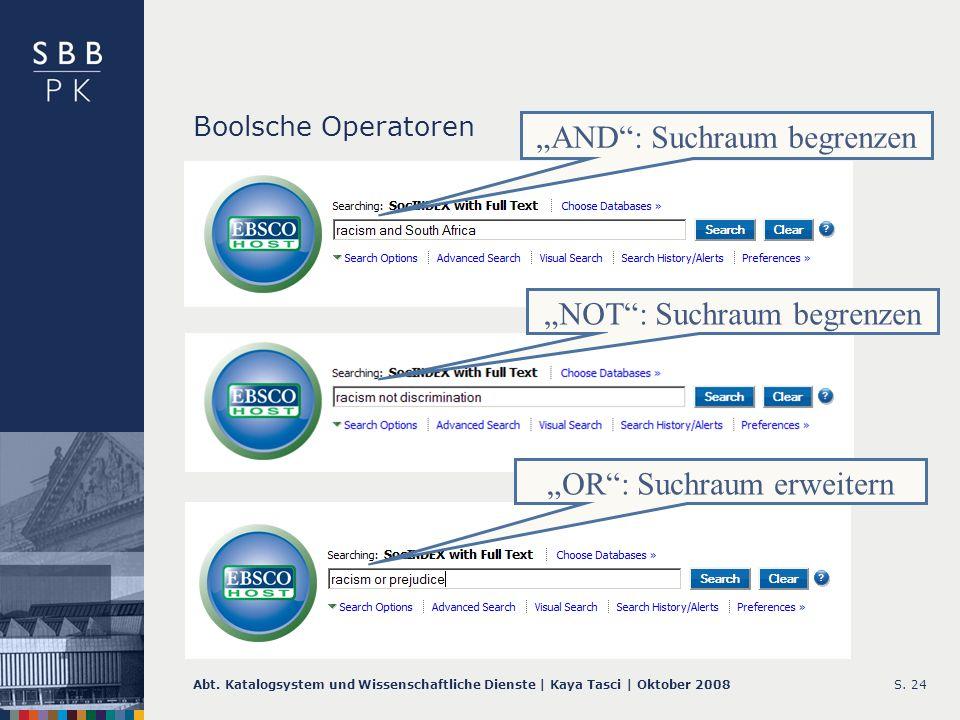 Abt. Katalogsystem und Wissenschaftliche Dienste | Kaya Tasci | Oktober 2008S. 24 Boolsche Operatoren AND: Suchraum begrenzen NOT: Suchraum begrenzen