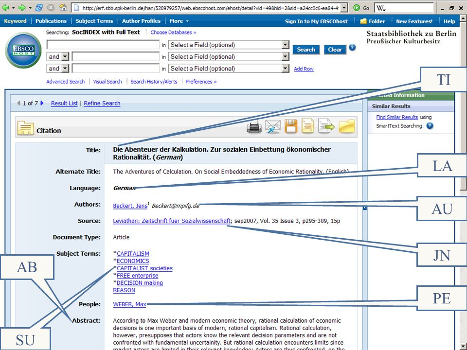 Abt. Katalogsystem und Wissenschaftliche Dienste | Kaya Tasci | Oktober 2008S. 34 Die TI LA AU JN SU PE AB