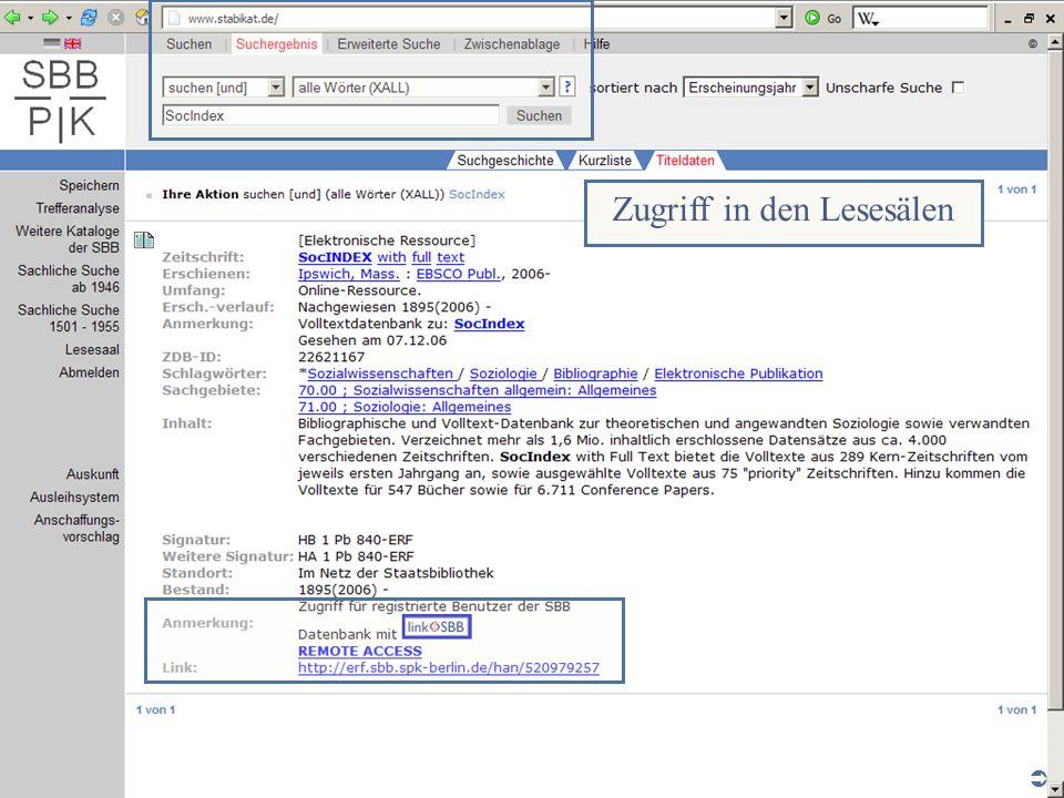 Abt. Katalogsystem und Wissenschaftliche Dienste | Kaya Tasci | Oktober 2008S. 6 Internetarbeitsplätze in den Lesesälen der SBB Zugriff in den Lesesäl