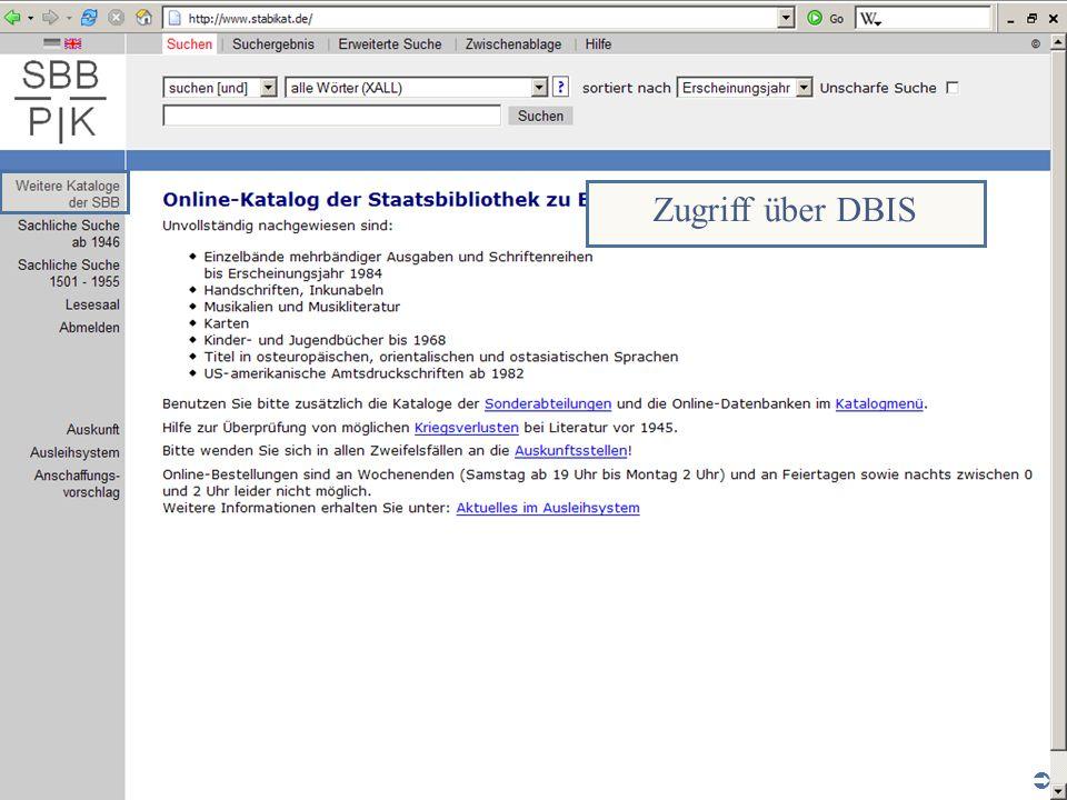 Abt. Katalogsystem und Wissenschaftliche Dienste | Kaya Tasci | Oktober 2008S. 8 Zugriff über DBIS