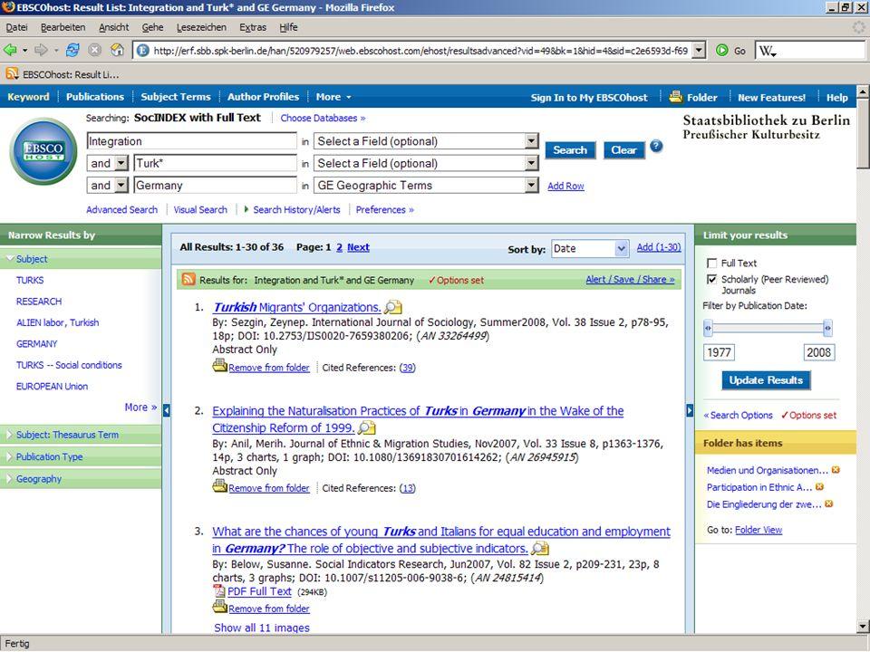 Abt. Katalogsystem und Wissenschaftliche Dienste | Kaya Tasci | Oktober 2008S. 92