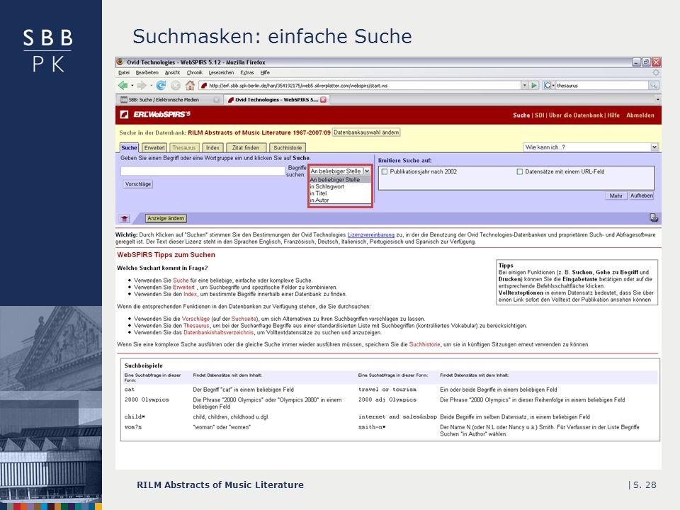 |RILM Abstracts of Music LiteratureS. 28 Suchmasken: einfache Suche