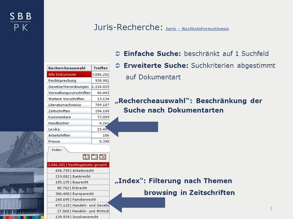 | Juris-Recherche: Juris – Rechtsinformationen Juris – Rechtsinformationen Einfache Suche: beschränkt auf 1 Suchfeld Erweiterte Suche: Suchkriterien a