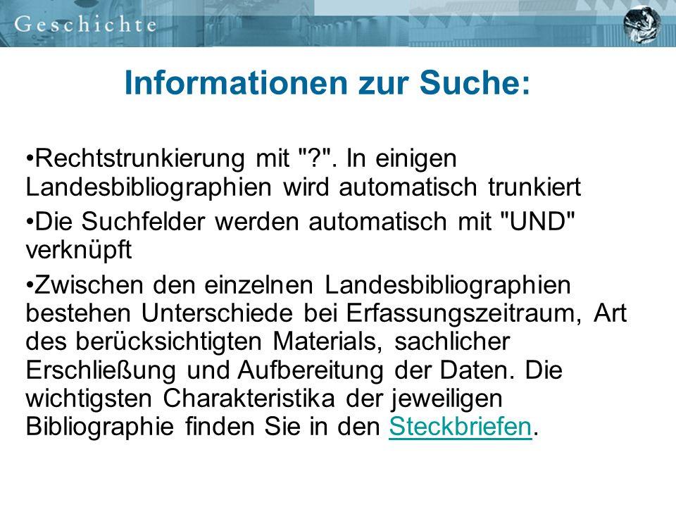 Informationen zur Suche: Rechtstrunkierung mit