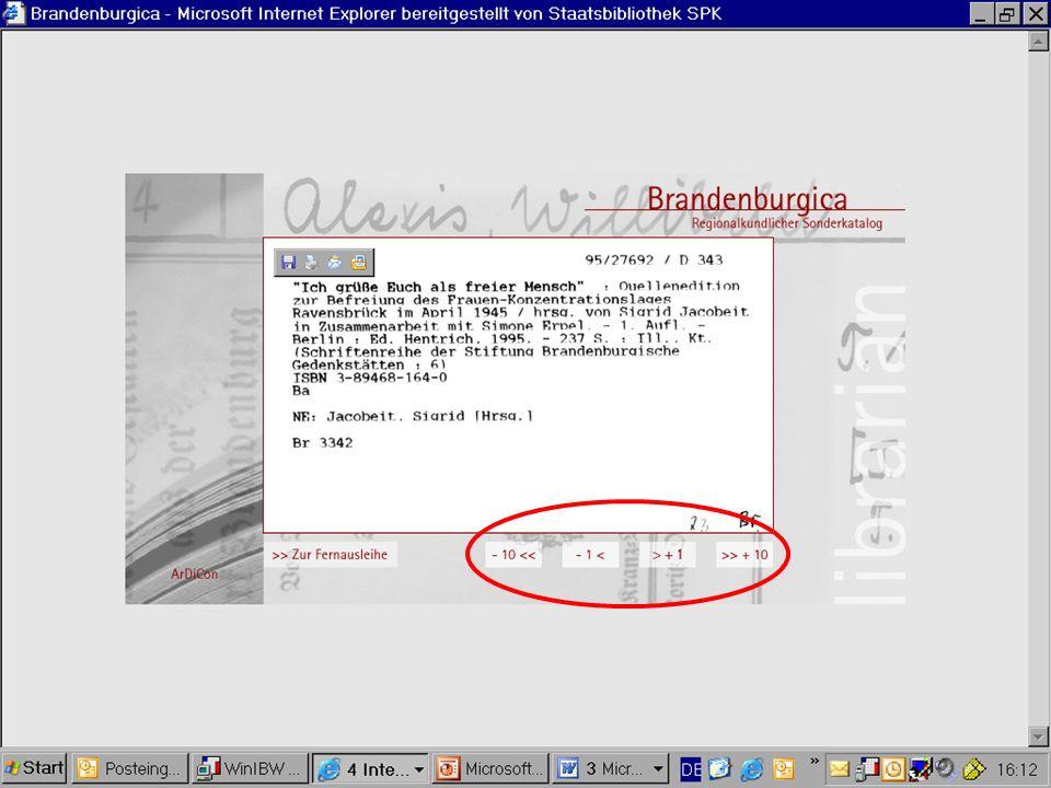 Weitere Landesbibliographien in Auswahl Unter: http://www.blb- karlsruhe.de/blb/blbhtml/digbib/bibliographien.ht mlhttp://www.blb- karlsruhe.de/blb/blbhtml/digbib/bibliographien.ht ml finden Sie eine Zusammenstellung aktueller Regionalbibliographien des deutschen Sprachraumes und angrenzender Regionen