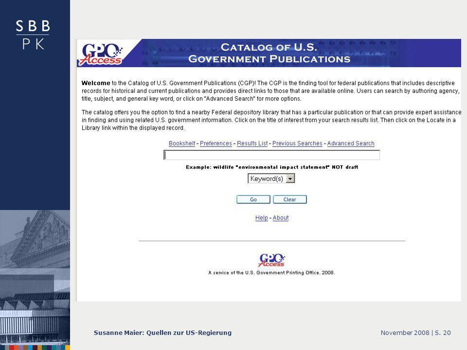 November 2008 |Susanne Maier: Quellen zur US-RegierungS. 20 … CGP – Screenshot Startseite