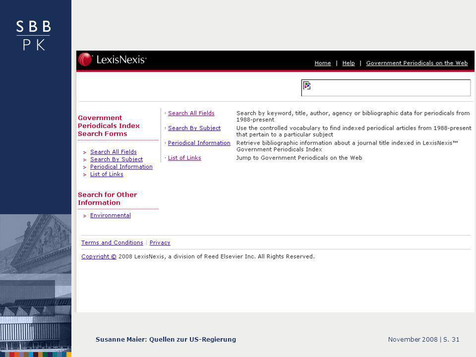 November 2008 |Susanne Maier: Quellen zur US-RegierungS. 31 … GPI – Screenshot Startseite