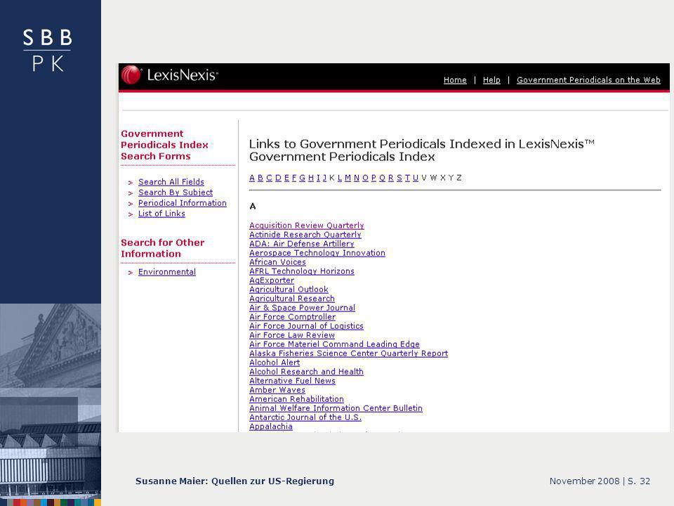 November 2008 |Susanne Maier: Quellen zur US-RegierungS. 32 … GPI – Screenshot List of Links