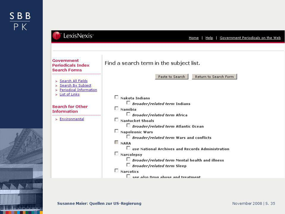 November 2008 |Susanne Maier: Quellen zur US-RegierungS. 35 … GPI – Screenshot Subjekt List