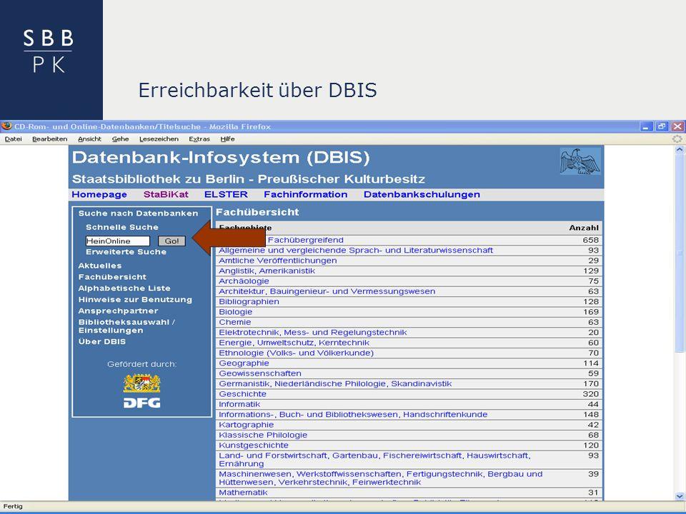 | Erreichbarkeit über DBIS